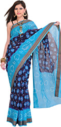 Double-Shaded Bandhani Tie-Dye Sari from Rajasthan with Woven Border