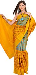 Yellow and Green Patan Patola Ikat Sari from Gujarat with Woven Bootis