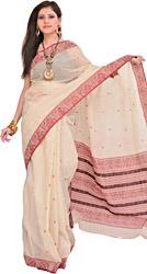 White-Swan Baluchari Sari from Bengal with Woven Bootis