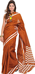 Plain South Cotton Sari from Hyderabad with Woven Stripes