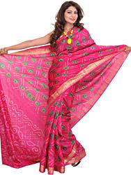 Vibrant Bandhani Tie-Dye Sari from Gujarat with Brocade Border