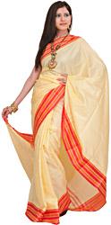 Vanilla Plain Puja Sari from Banaras with Thread Weave on Border