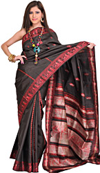 Caviar-Balck Baluchari Sari from Kolkata Depicting Hindu Mythological Episodes
