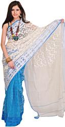 White and Blue Double-Shaded Jamdani Sari from Bengal