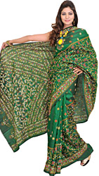 Foliage-Green Sari from Kolkata with Kantha Hand-Embroidery All-Over