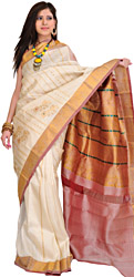 Ivory Kanjivaram Sari with Woven Flowers and Golden Thread Weave
