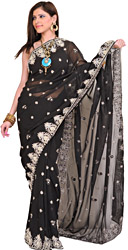 Jet-Black Wedding Sari with Embroidered Beads and Stone-Work