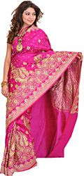 Rose-Violet Bridal Satin Sari from Banaras with Hand-Embroidered Beads and Sequins