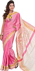 Orchid-Smoke Patan Patola Ikat Sari from Gujarat with Woven Bootis