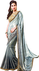 Gray Double-Shaded Shimmer Sari with Sequined Patch Border and Embroidered Blouse