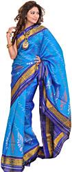 Swedish-Bue Patan Patola Sari from Gujarat with Ikat Weave