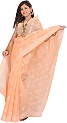 Tropical-Peach Sari from Lucknow with Chikan Embroidered Flowers by Hand