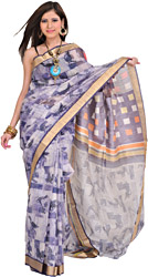 White and Purple Sari from Purvanchal with Digital Printed Sparrows and Golden Woven Border