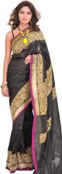 Jet-Black Plain Sari from Banaras with Hand-woven Flowers on Border