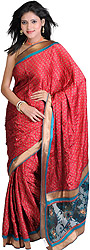 Cardinal-Red Bandhani-Print Sari with Embroidered Net Aanchal and Patch Border