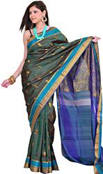 Dark-Green Kanjivaram Sari with Hand-woven Flowers