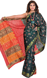 Dark Green and Red Bandhani Tie-Dye Sari from Rajasthan with Woven Aanchal