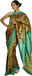 Harvest-Gold and Green Banarasi Sari with Woven Paisleys All-Over