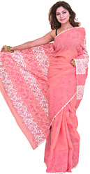 Confetti-Pink Sari from Lucknow with Chikan Embroidered Paisleys by Hand