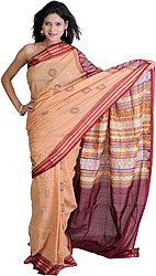 Desert-Mist and Maroon Bomkai Sari from Orissa with Woven Chakras and Rudraksha Border