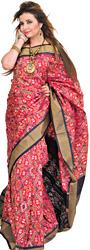Red-Bud Paan Patola Handloom Sari from Pochampally with Ikat Weave