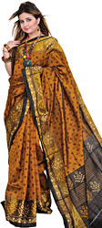Golden-Brown Patan Patola Ikat Sari from Gujarat with Woven Bootis