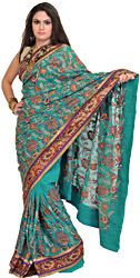 Dynasty-Green Wedding Sari with Embroidered Paisleys and Sequins