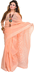 Peach-Bud Sari from Lucknow with Chikan Embroidery by Hand