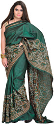 Posy-Green Sari from Kolkata with Kantha Embroidery by Hand