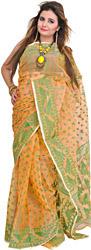 Buff-Orange Jamdani Sari from Bengal with Woven Bootis