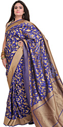 Mazarine-Blue Banarasi Sari with Woven Birds in Zari Thread