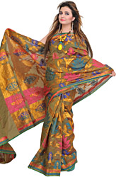 Olive-Green Banarasi Sari with Large Woven Flowers and Zari Weave