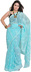 Aqua-Sky Sari from Lucknow with Woven Stripes and Chikan Embroidery by Hand