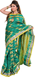 Pine-Green Sari from Bangalore with Woven Flowers and Brocaded Aanchal