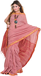 Red and White South-Cotton Sari with Woven Checks All-Over