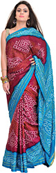 Beet-Red and Blue Bandhani Tie-Dye Sari from Gujarat with Zari Weave on Aanchal