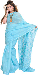 Plume-Blue Sari from Lucknow with Chikan Hand-Embroidered Paisleys