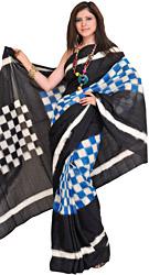 Black and Blue Handloom Ikat Sari from Pochampally with Woven Checks