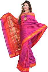 Carmine-Pink Paithani Sari with Bootis and Hand-Woven Peacocks on Aanchal