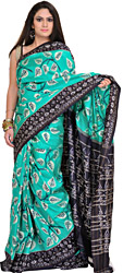 Aqua-Green and Dark-Blue Ikat Sari from Pochampally with Woven Leaves