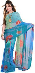 Green and Blue Shaded Casual Sari with Digital-Printed Roses