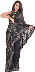 Jet-Black Chikan Hand-Embroidered Sari from Lucknow with Sequins and Beads