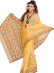 Golden-Fleece Chanderi Sari with Woven Leaves and Bootis