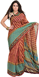 Cordovan-Red and Blue Chanderi Sari with Printed Motifs All-Over