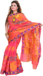 Bubblegum-Pink Sari from Banaras with Hand-Woven Paisleys and Flowers