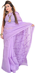Violet-Tulip Sari from Lucknow with Chikan Embroidery by Hand