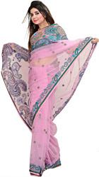 Lilac-Chiffon Wedding Net Sari with Beaded Paisleys and Sequins