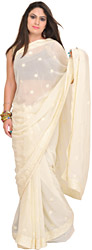 Ivory Georgette Sari with Floral Embroidery in self-Colored Thread