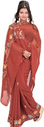 Ketchup-Red Sari from Kashmir with Ari-Embroidered Flowers