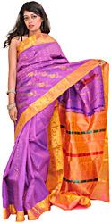 Dewberry-Purple and Peach Kanjivaram Handloom Sari with Brocaded Aanchal